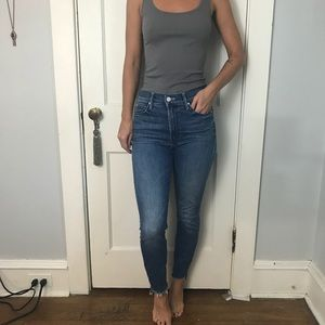 Mother Ankle Step Fray Denim Cute Jeans